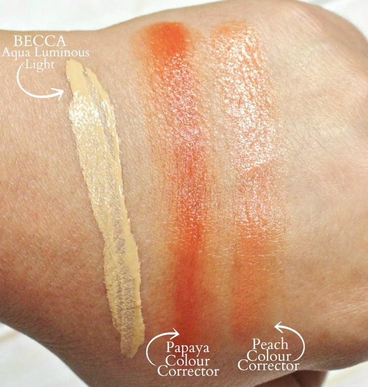 BECCA Aqua Luminous Foundation swatches color correcting review