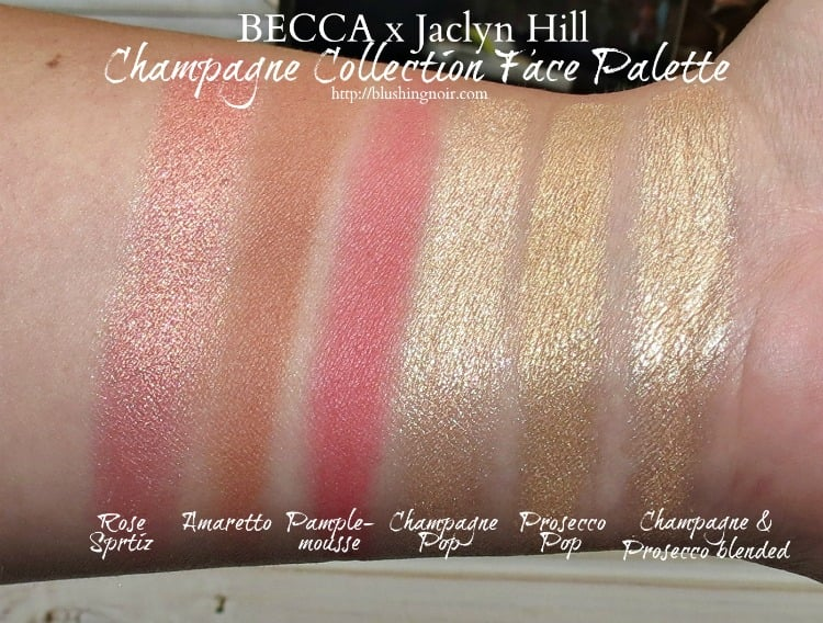 BECCA Cosmetics Jaclyn Hill Champagne Collection face palette makeup swatches review photos first look