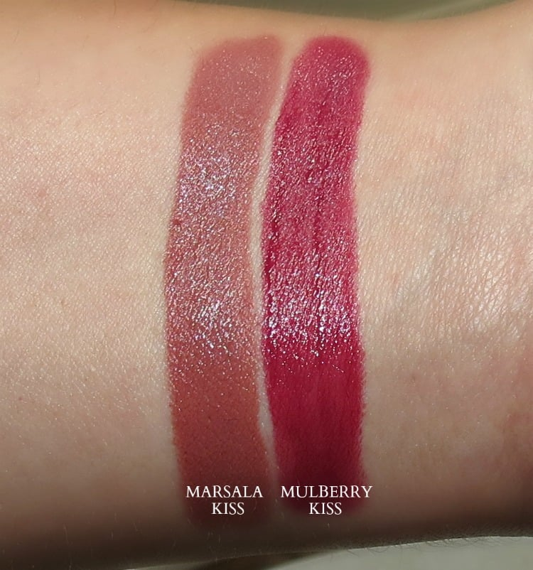 Honest Beauty Truly Kissable Lip Crayon swatches marsala kiss mulberry kiss