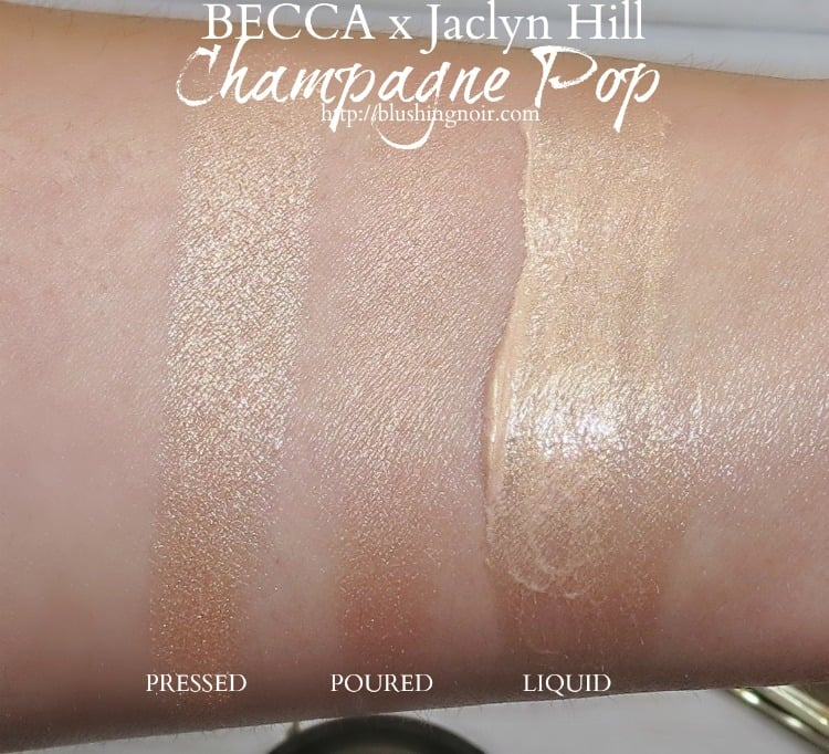 BECCA x Jaclyn Hill Champagne Pop highlighter pressed poured liquid swatches review