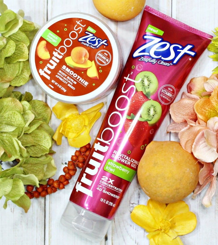 Zest® Fruitboost™ shower gel scrubs review body care