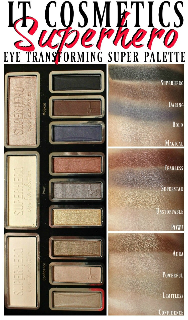 IT Cosmetics Superhereo Eyeshadow palette swatches review swatch pics photos
