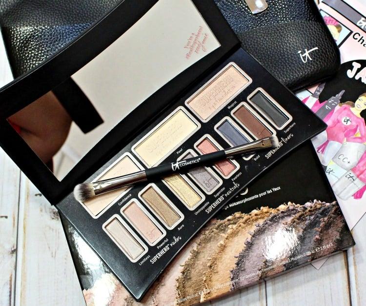 IT Cosmetics Superhero Eyeshadow palette makeup brush recommendations