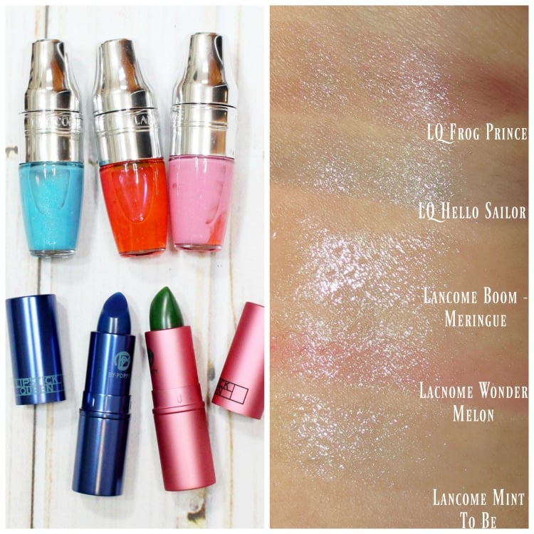 Lancome Juicy Shakers Lipstick Queen Frog Prince Hello Sailor swatches review