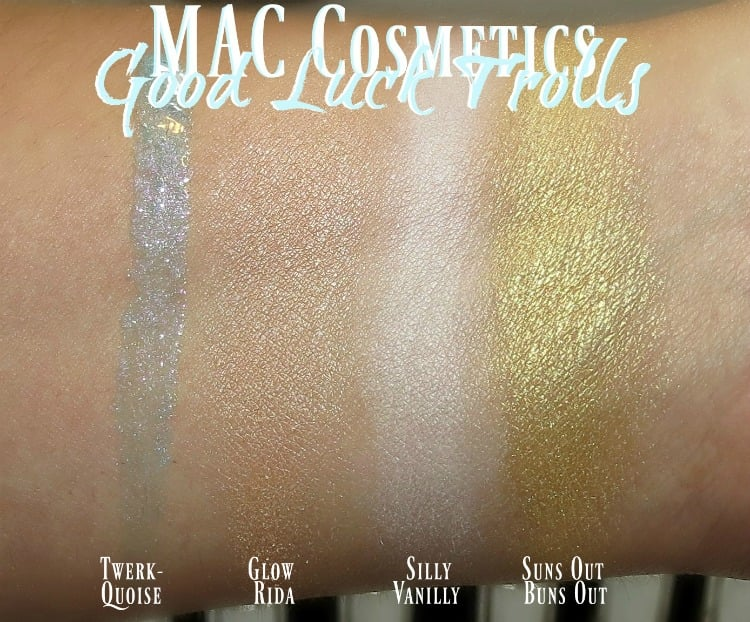 MAC Good Luck Trolls Makeup Collection Swatches review swatch pics