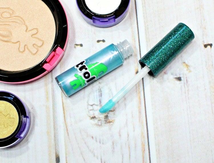 MAC Good Luck Trolls Twerkquoise lipglass swatches review gloss swatch pics makeup