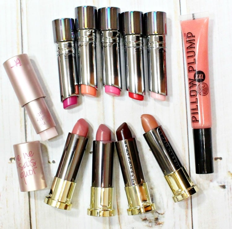 National Lipstick Day MAC Urban Decay IT Cosmetics Soap & Glory Pillow Plump swatches review