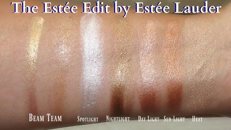 The Estée Edit by Estée Lauder highlight glow strobe makeup swatches review swatch pics