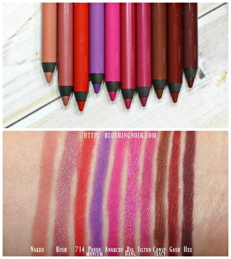 Urban Decay 247 Glide-On Lip Pencil swatches review vice lipsticks