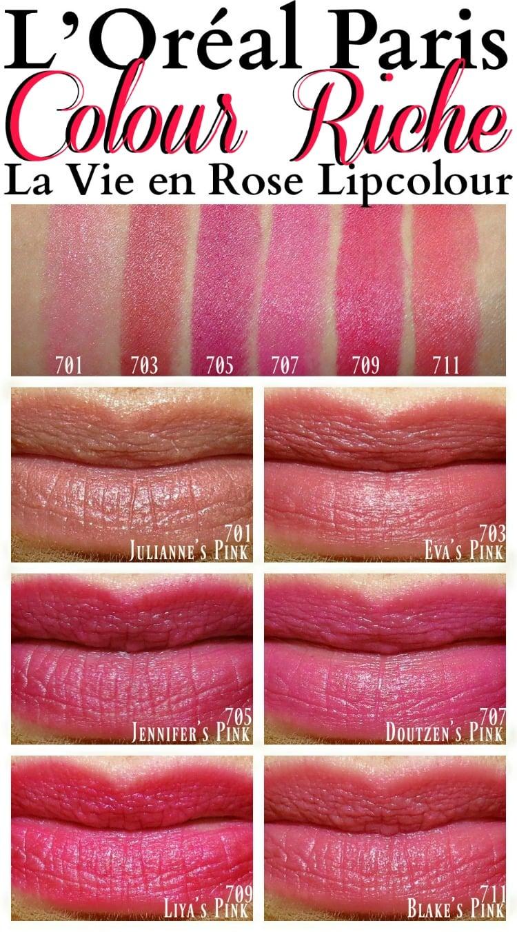 L'Oreal Colour Riche Lipstick Swatches Julianne Eva J Lo Doutzen Liya Blake