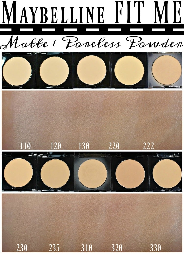 Maybelline Fit Me Matte & Poreless Powder swatches review swatch pics