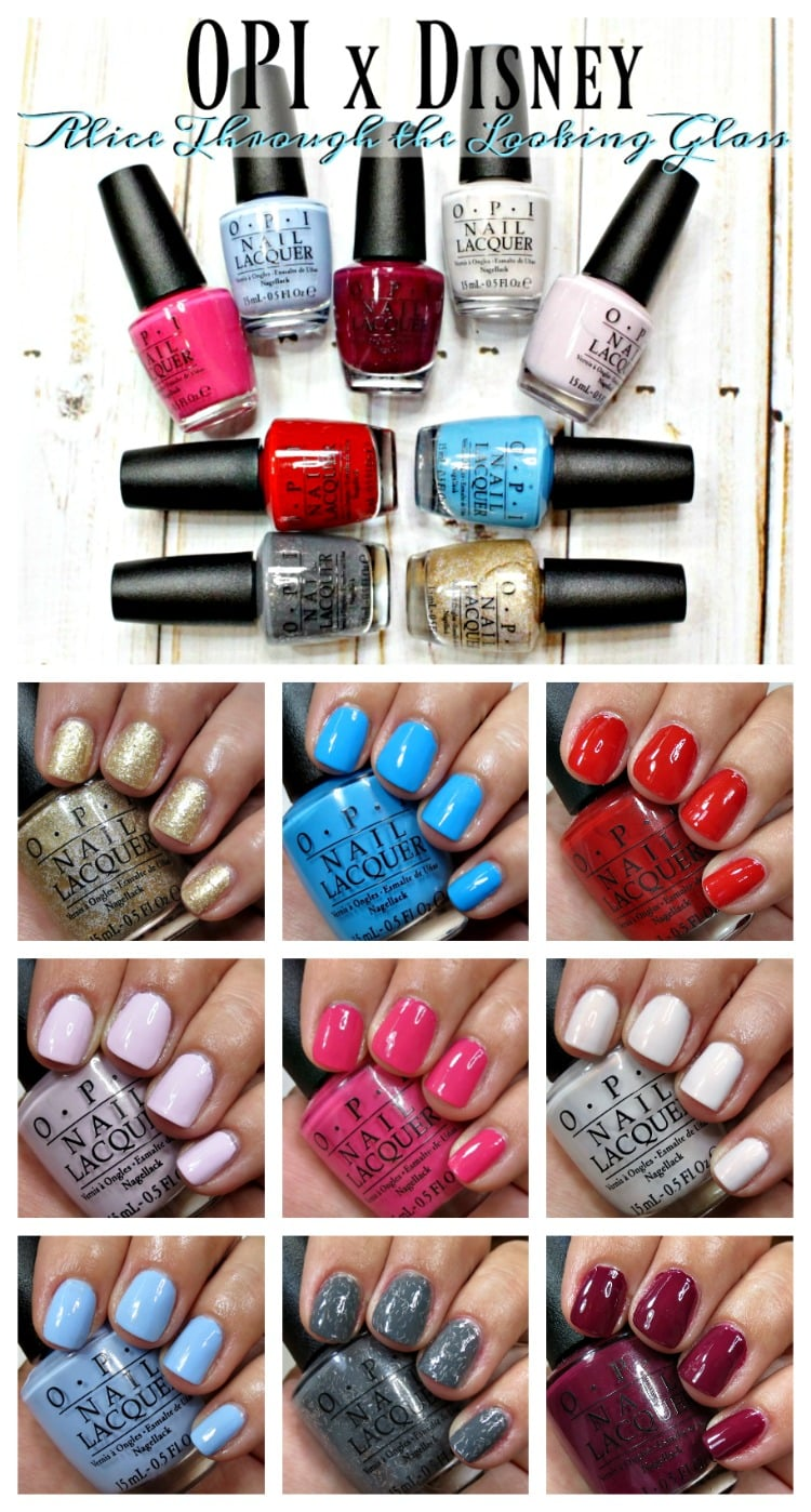 OPI Alice Through the Looking Glass nail polish lacquer collection swatches review disney swatch pics makeup