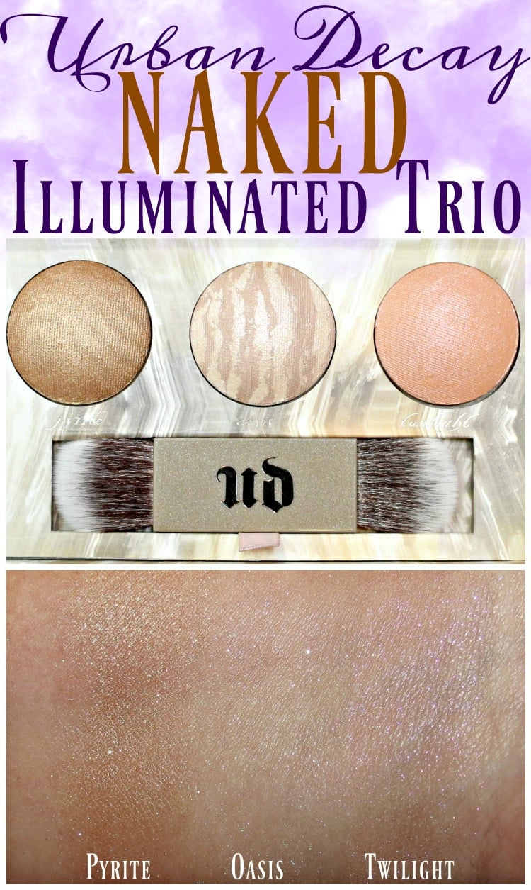 Urban Decay Naked Illuminated trio highlighter swatches review swatch pics photos holiday 2016