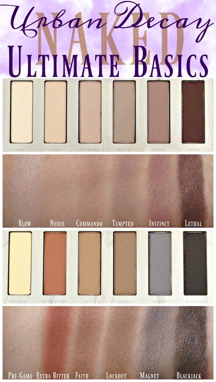 Urban Decay Naked Ultimate Basics palette eyeshadow swatches review swatch pics holiday 2016