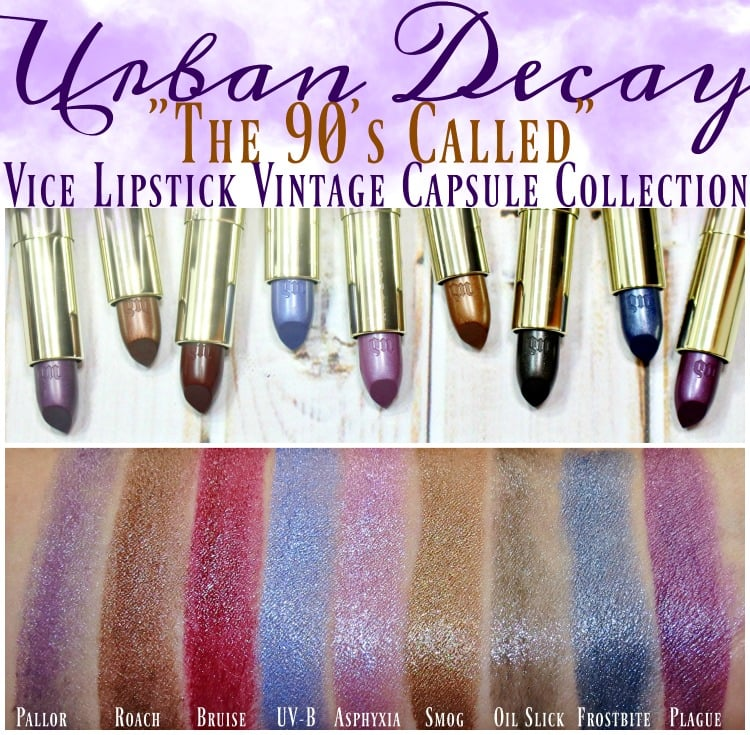 Urban Decay Vice Lipstick Vintage Capsule Collection Swatches review swatch pics holiday 2016