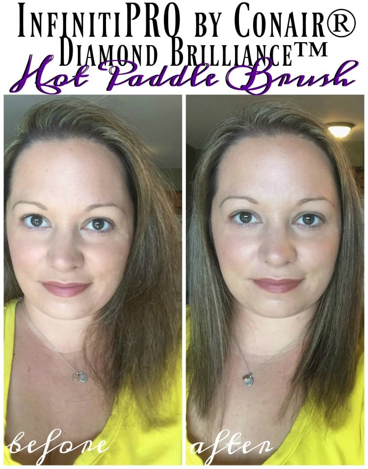 how-to-infinitipro-by-conair-diamond-brilliance-hot-paddle-brush-before-after-review