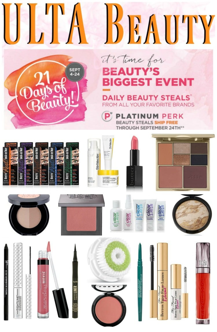 ULTA Beauty 21 days of beauty sale event pinterest makeup on sale benefit urban decay clarisonic