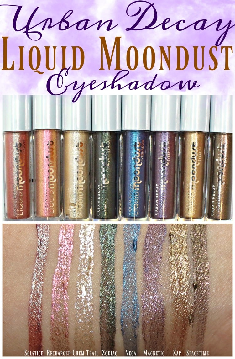 Urban Decay Liquid Moondust Eyeshadow Swatches review swatch pics