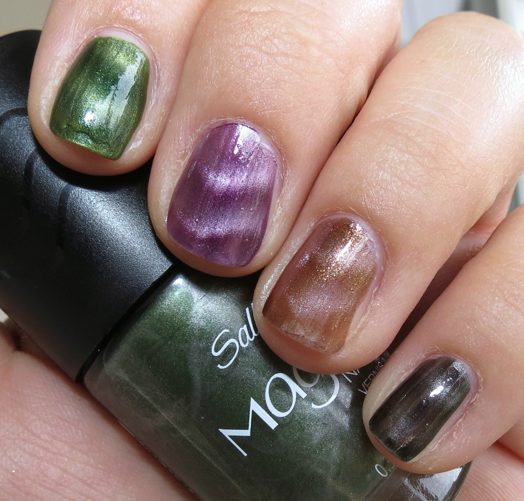 Sally Hansen Magnetic Nail Color Swatches and Review - Blushing Noir