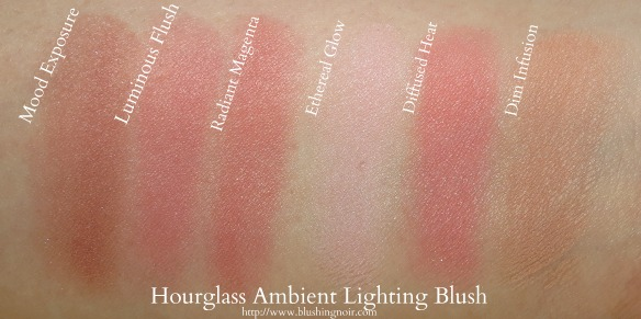 Hourglass Ambient Lighting Blush Swatches