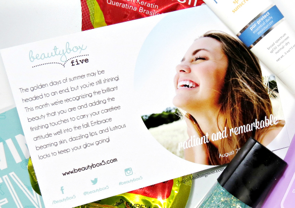 August 2014 Beauty Box 5 Radiant and Remarkable