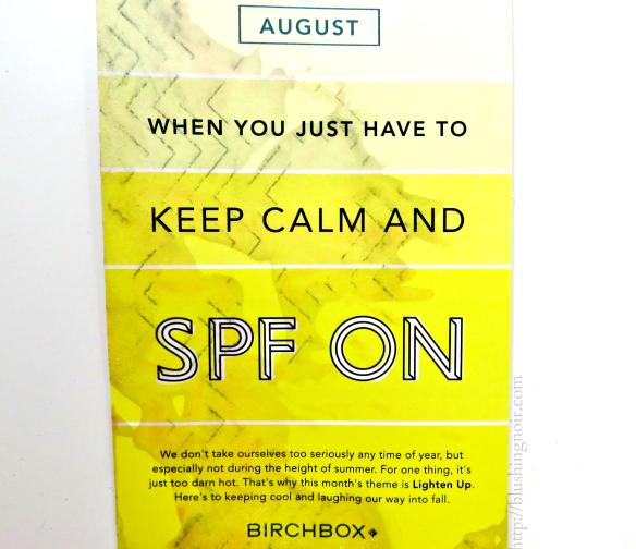 August 2014 Birchbox SPF ON