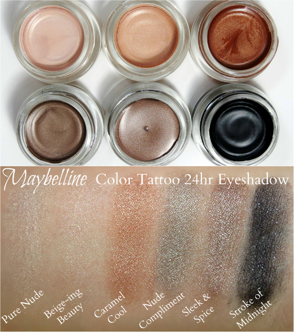 Maybelline Color Tattoo 24hr Eyeshadow Swatches