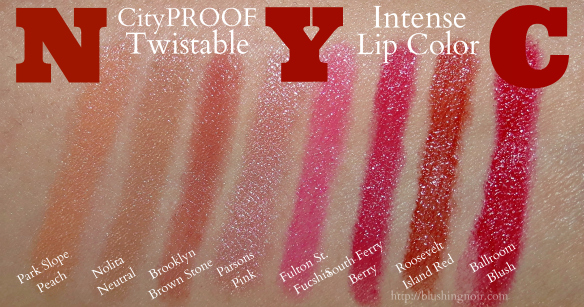 NYC CityPROOF Twistable Intense Lip Color Swatches