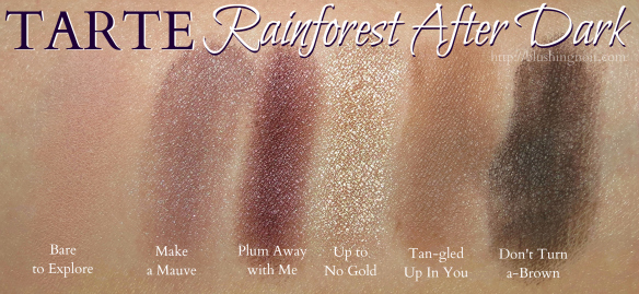 Tarte Rainforest After Dark Palette Swatches