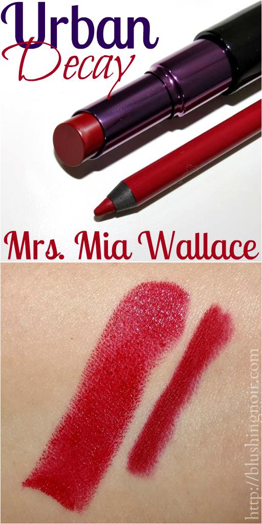Urban Decay Mrs. Mia Wallace Lipstick Lip Pencil Swatches