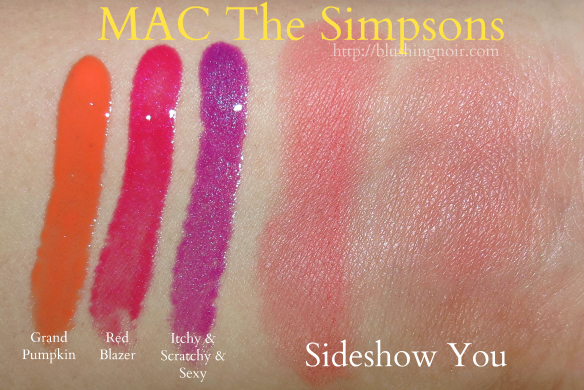 MAC The Simpsons Lipglass Powder Blush Swatches #MACxMarge