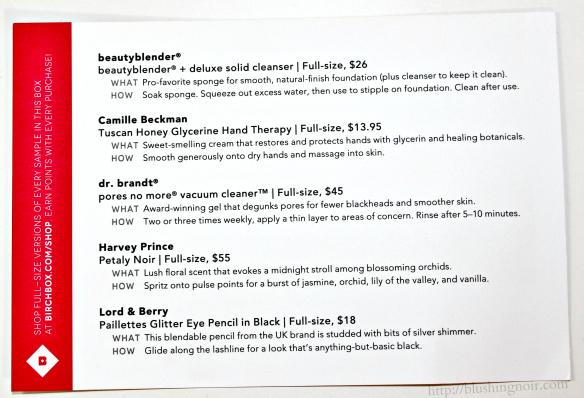October 2014 Birchbox contents