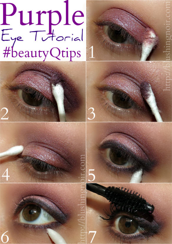 Purple eye tutorial feat q tips precision tips purple eye shadow tutorial beautyqtips ccuart Image collections