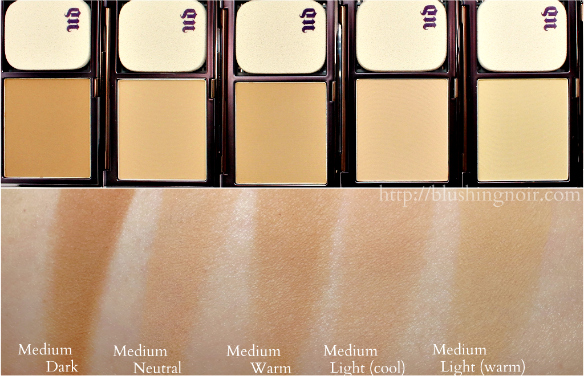 Urban Decay Naked Skin Powder Foundation Swatches