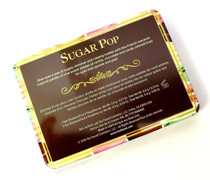 Too faced Sugar Pop Palette back