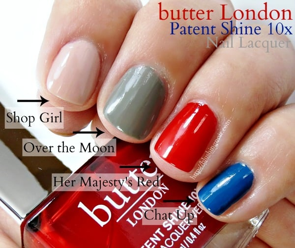 butter London Patent Shine swatches