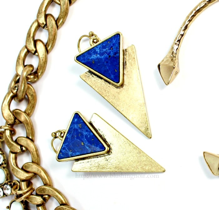 Jenny Bird Flagstaff Earrings in Gold Lapis
