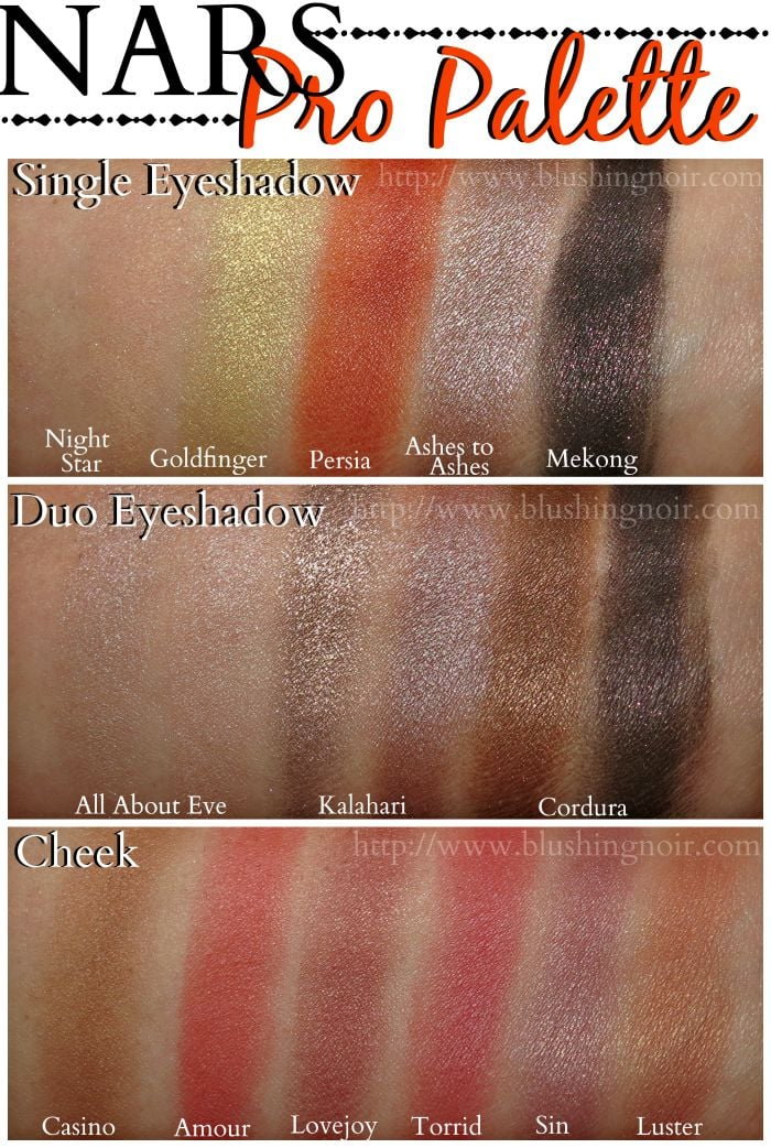 NARS Pro Palette Swatches