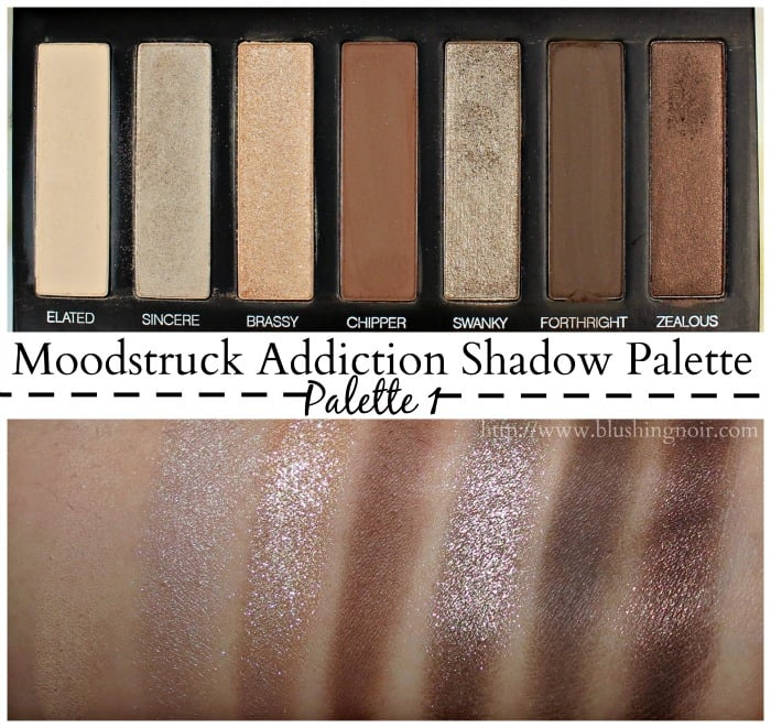 Younique Moodstruck Addiction Shadow Palette 1 Swatches Blushing Noir