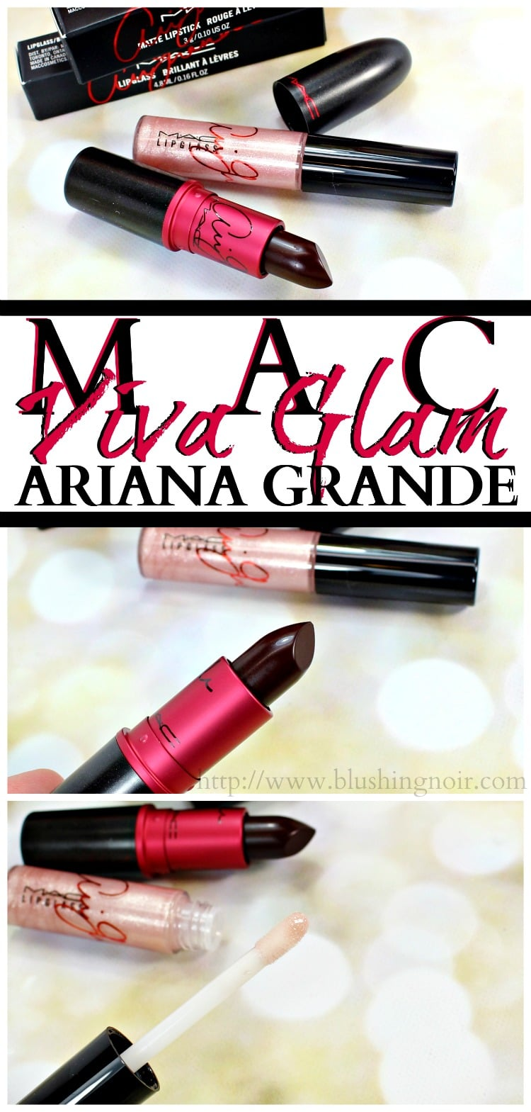 MAC Ariana Grande Viva Glam Lipstick Lipglass swatches review