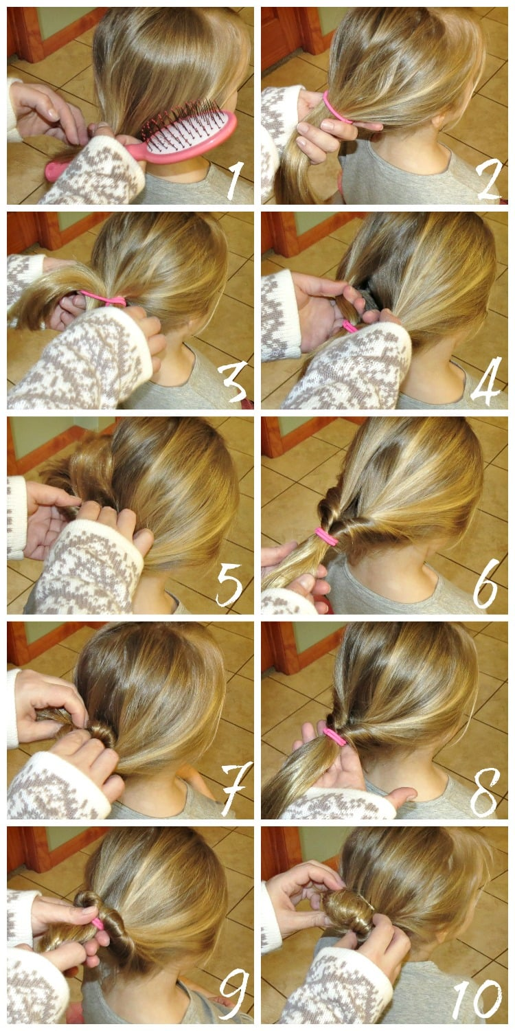 Topsy Twist Bun Hair Tutorial for kids girls