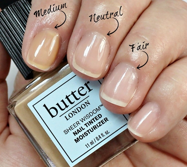 butter LONDON Sheer Wisdom Nail Tinted Moisturizer swatches ...