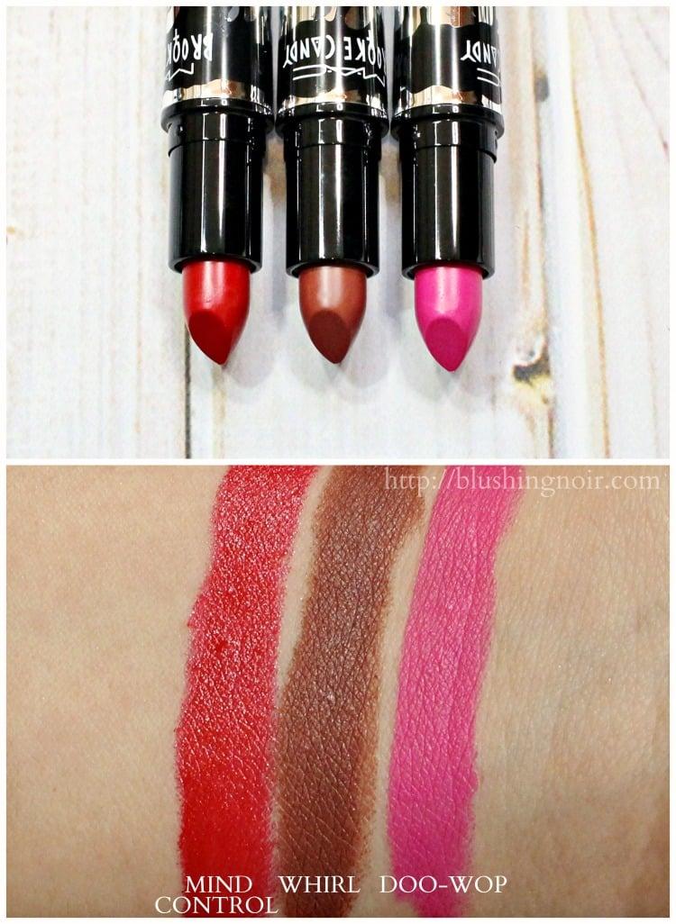 MAC x Brooke Candy Lipstick swatches doo-wop whirl mind control
