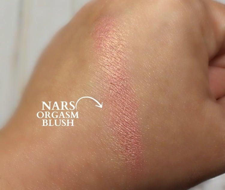 NARS Orgasm Blush swatches #whatmakesyoublush