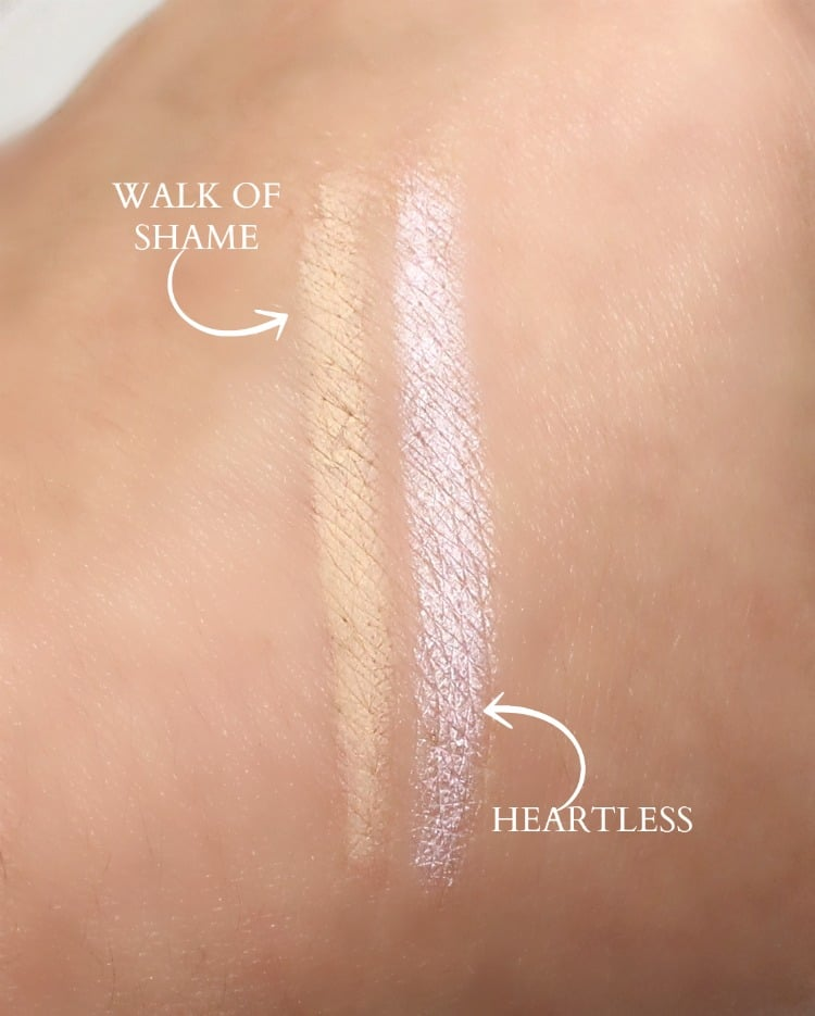 Urban Decay Walk of Shame Heartless eyeliner swatches