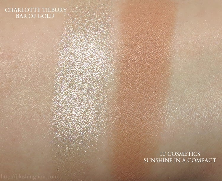 charlotte tilbury bar of gold it cosmetics sunshine in a compact swatches
