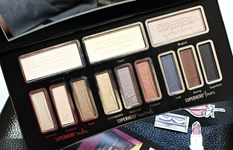 IT Cosmetics Superhero Eye Shadow Palette Swatches review photos swatch pics anti-aging