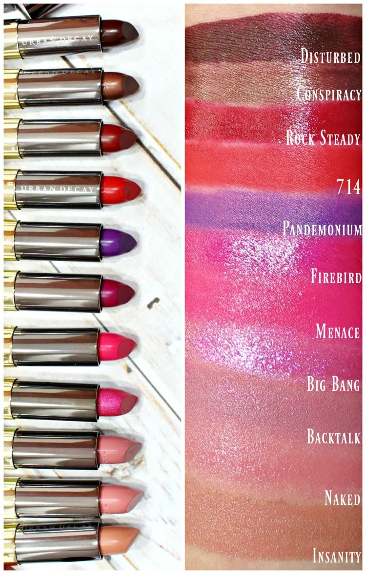 Urban Decay Vice Lipstick Swatches review swatch pics ruby rose