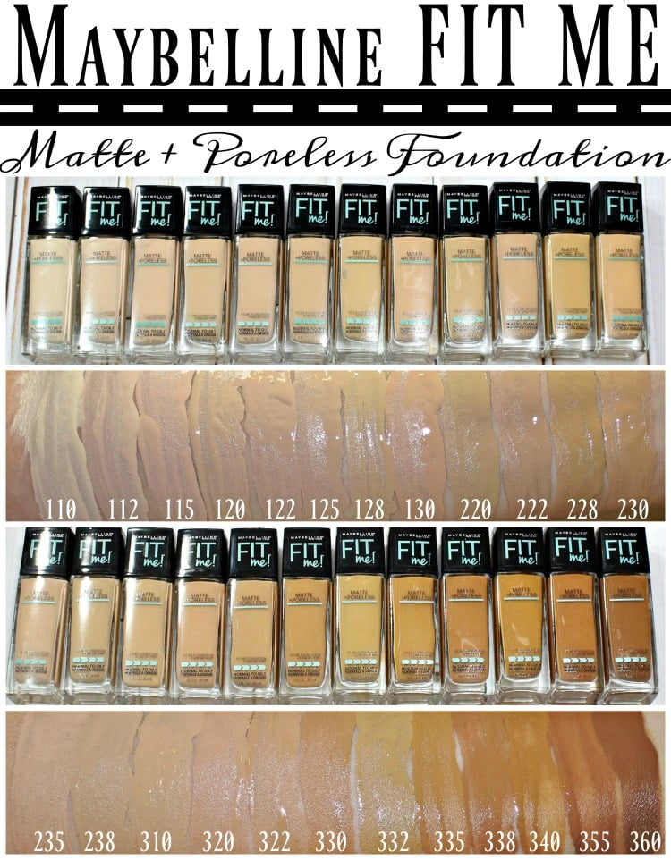 Maybelline FIT Me Matte & Poreless foundation swatches review swatch pics