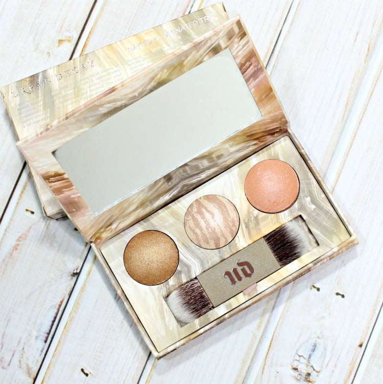 Urban Decay Naked Illuminated Trio highlighter brush swatches review swatch pics holiday 2016